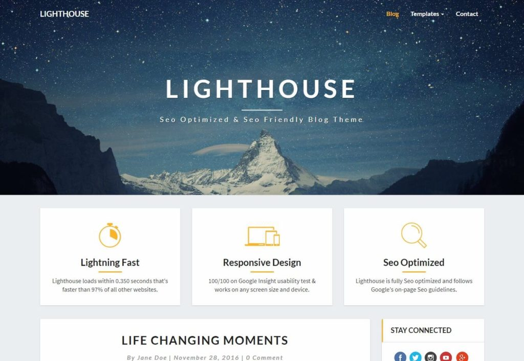 The Lighthouse Blog Theme.